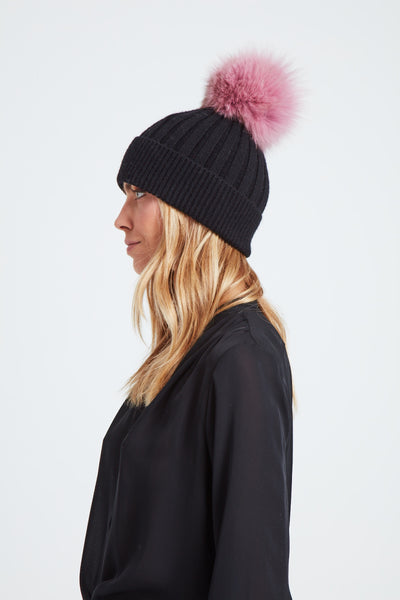 The North Star Hat - Black/Pale Pink
