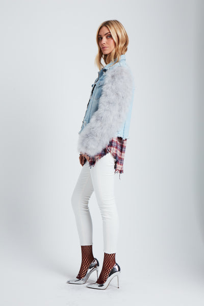 The Flying Feathers Denim Jacket - Blue/Grey