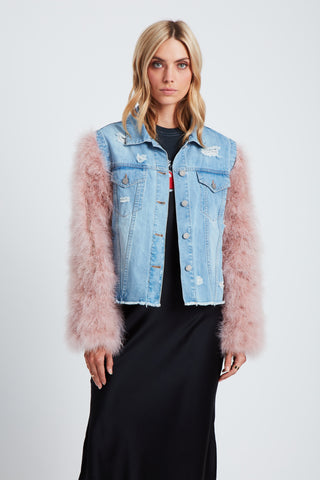 The Flying Feathers Denim Jacket - Blue/Rose