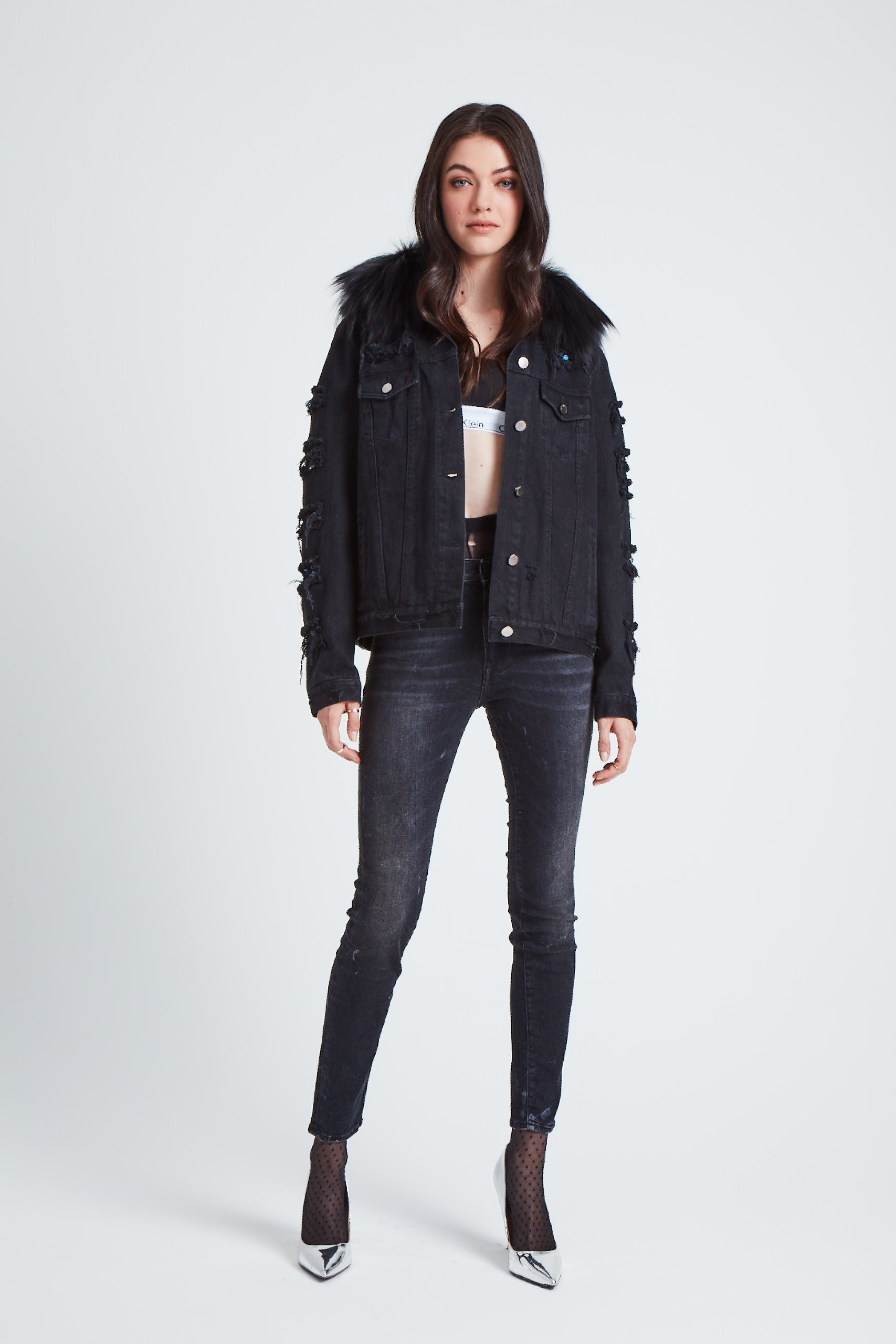 The Parallax Distressed Denim Jacket - Black