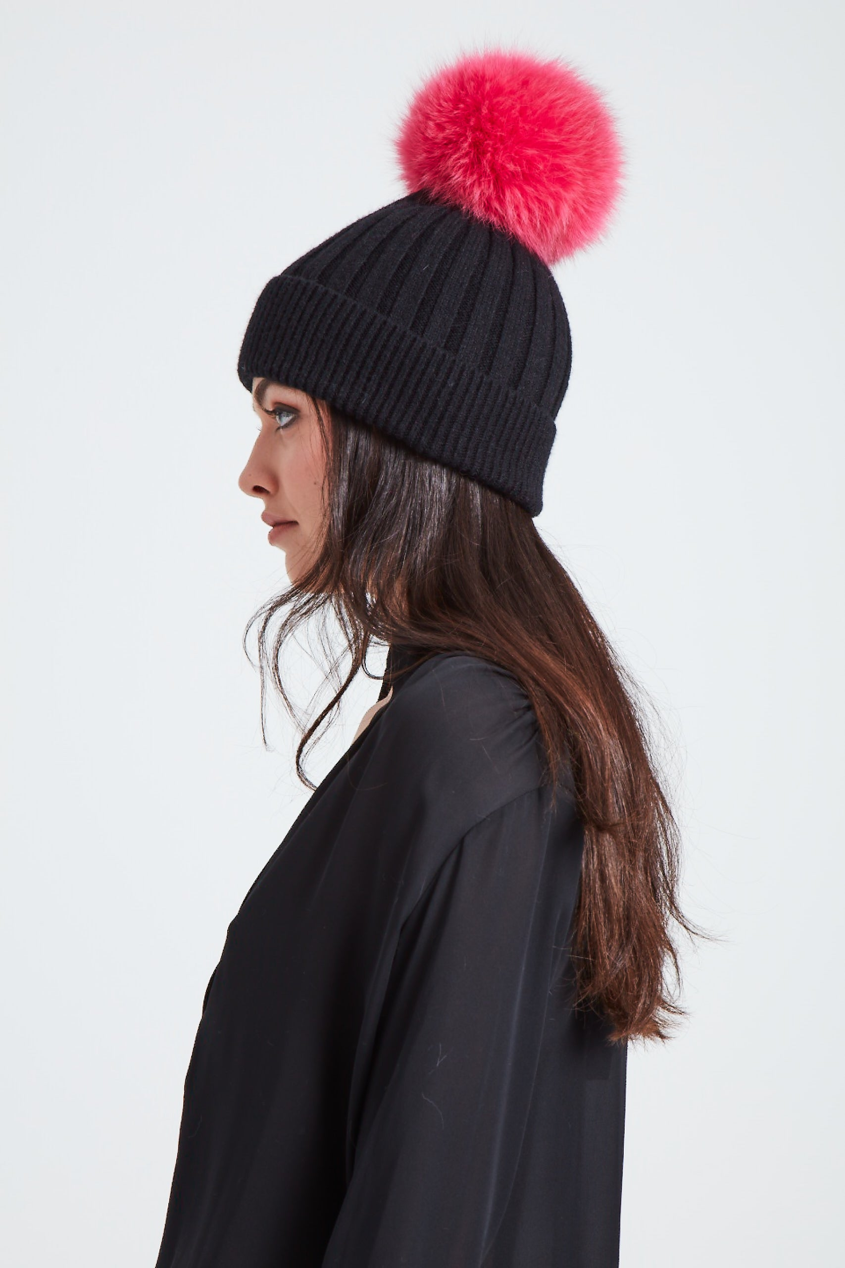 The North Star Hat - Black/Neon Pink