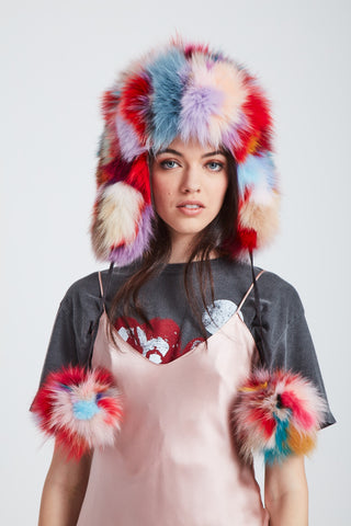 The Time Traveler Trapper Hat - Bright Multi