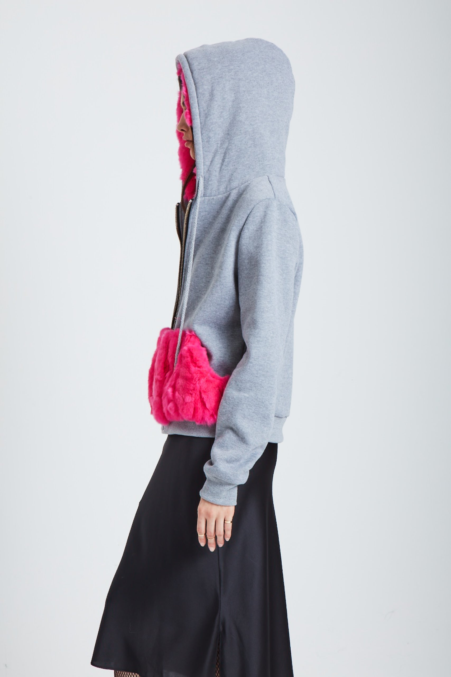 The Halley's Comet Zip-Up Hoodie - Neon Pink