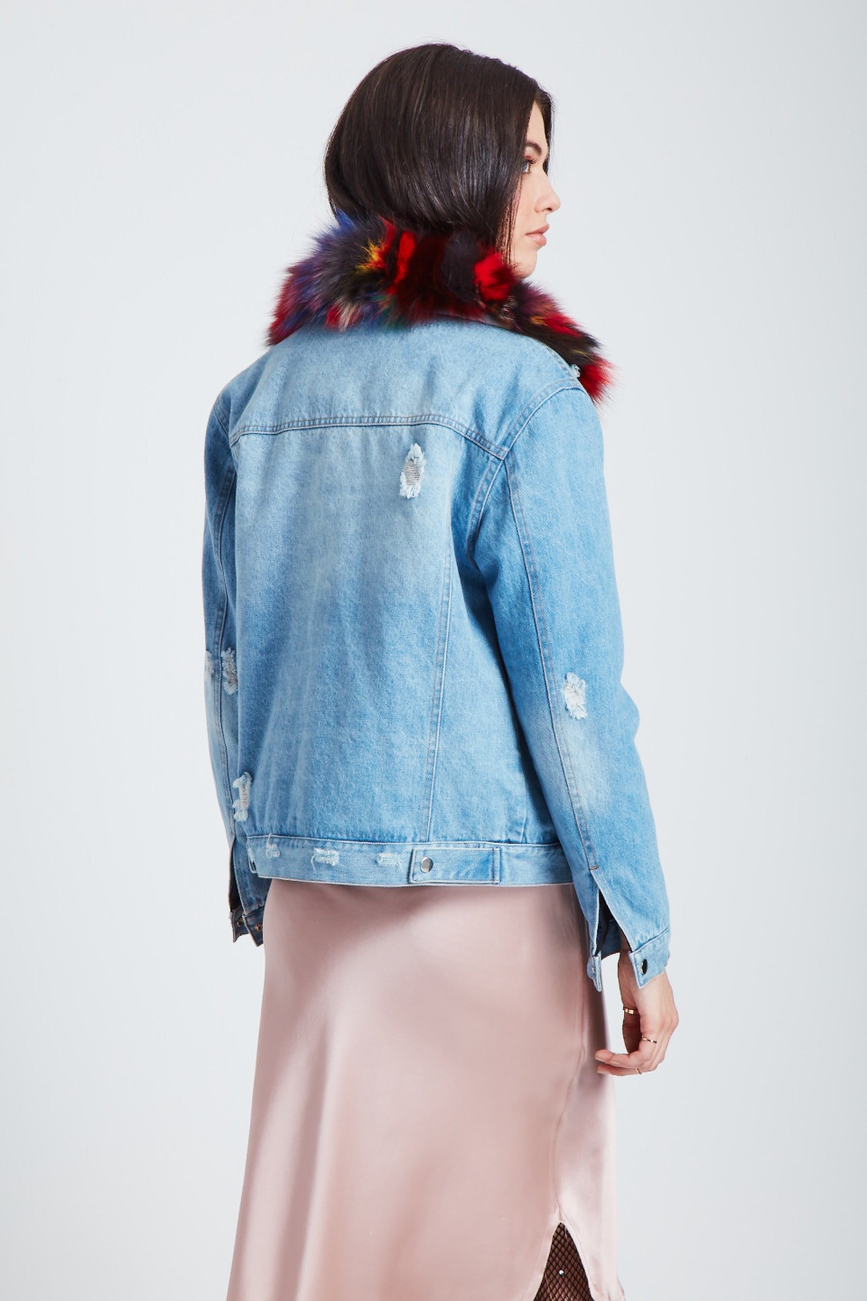 The Colliding Galaxies Reversible Denim Bomber