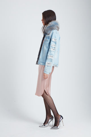 The Parallax Distressed Denim Jacket - Blue