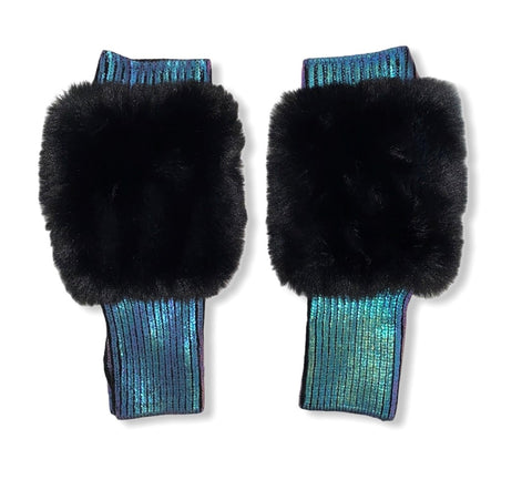 The East Broadway Mittens - Faux Fur - Navy