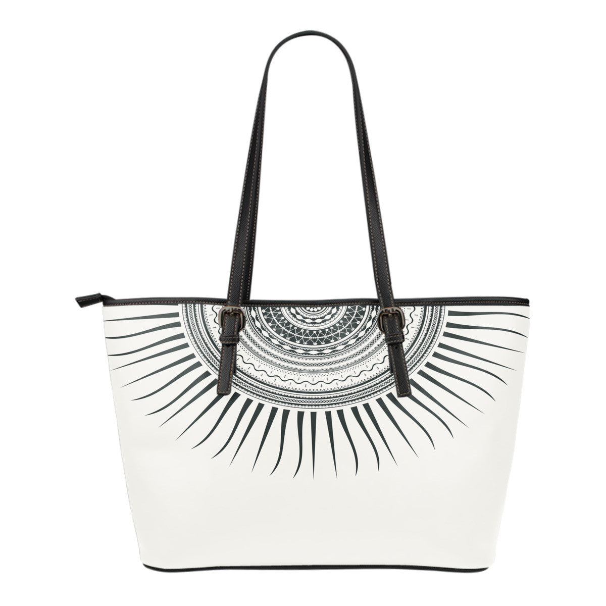 Tribal Sun Small Leather Tote Bag