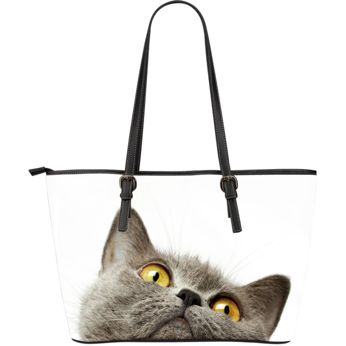Cat Large Leather Tote Bag