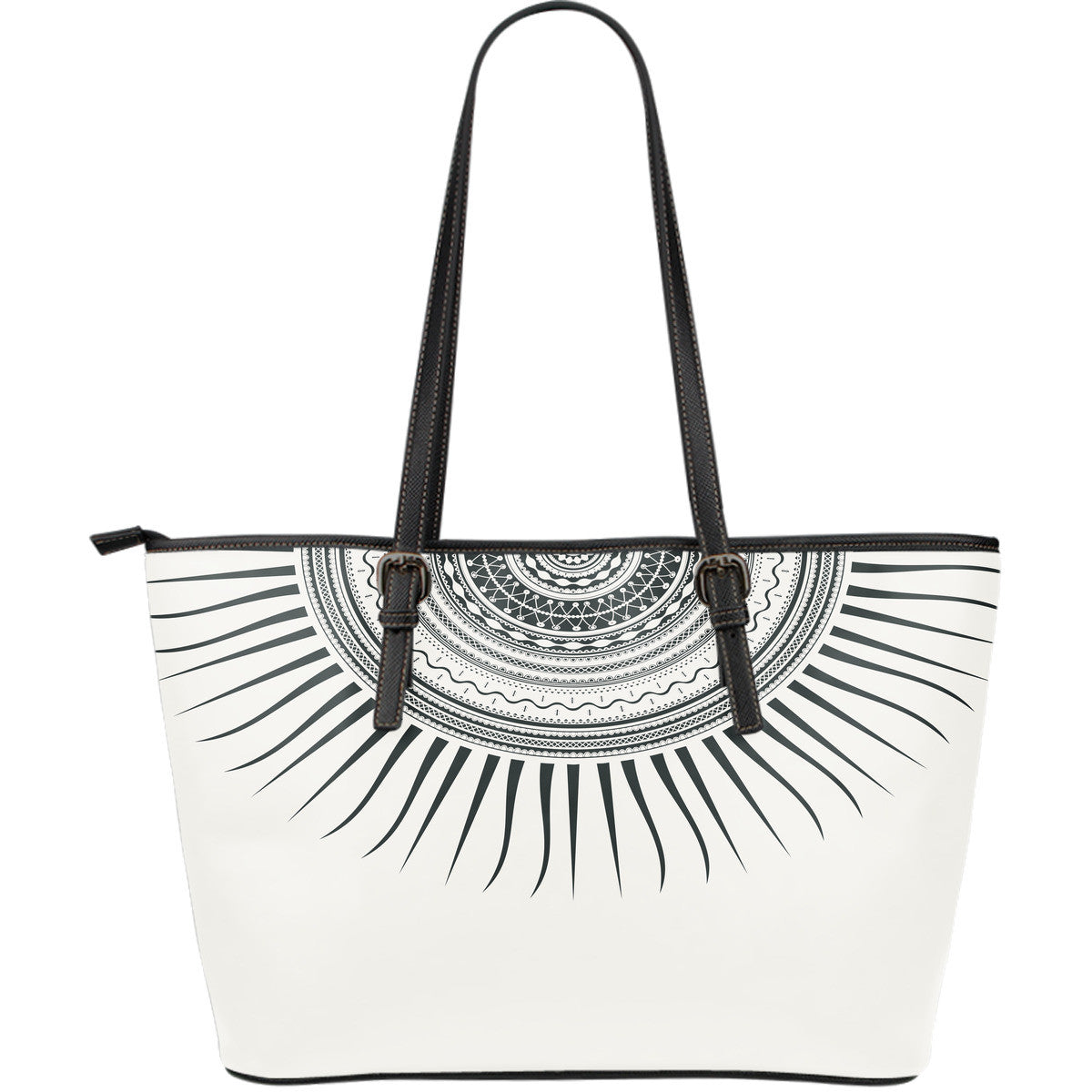 Tribal Sun Large Leather Tote Bag