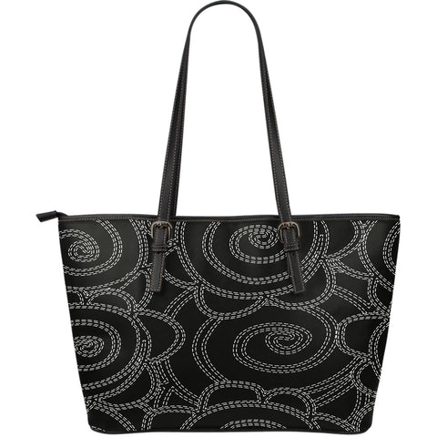 Flower Large Leather Tote Bag