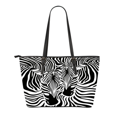 Zebra Couple Small Leather Tote Bag