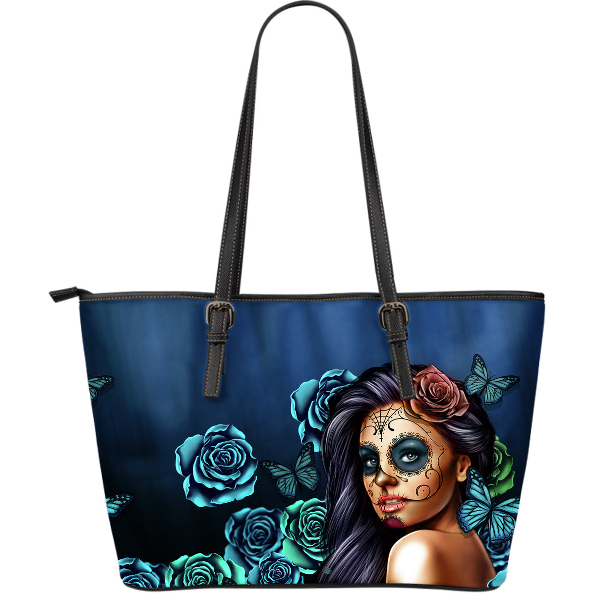 Tattoo Calavera Girl Large Leather Tote Bag - Collection 1