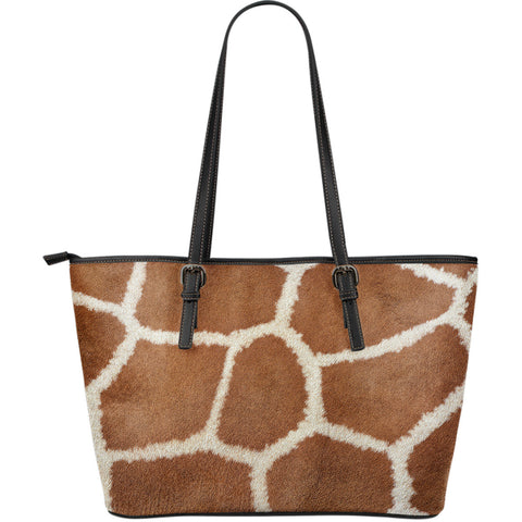 Giraffe Print Large Leather Tote Bag