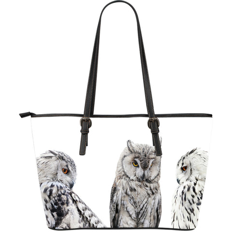 Set of Owls Large Leather Tote Bag