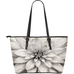 Dahlia Flower Large Leather Tote Bag
