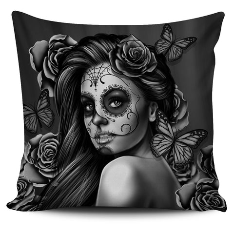 Tattoo Calavera Girl Pillow Cover - Collection 1