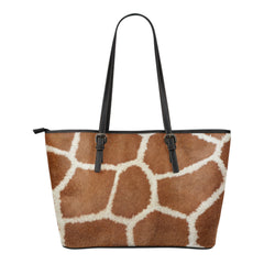 Giraffe Print Small Leather Tote Bag