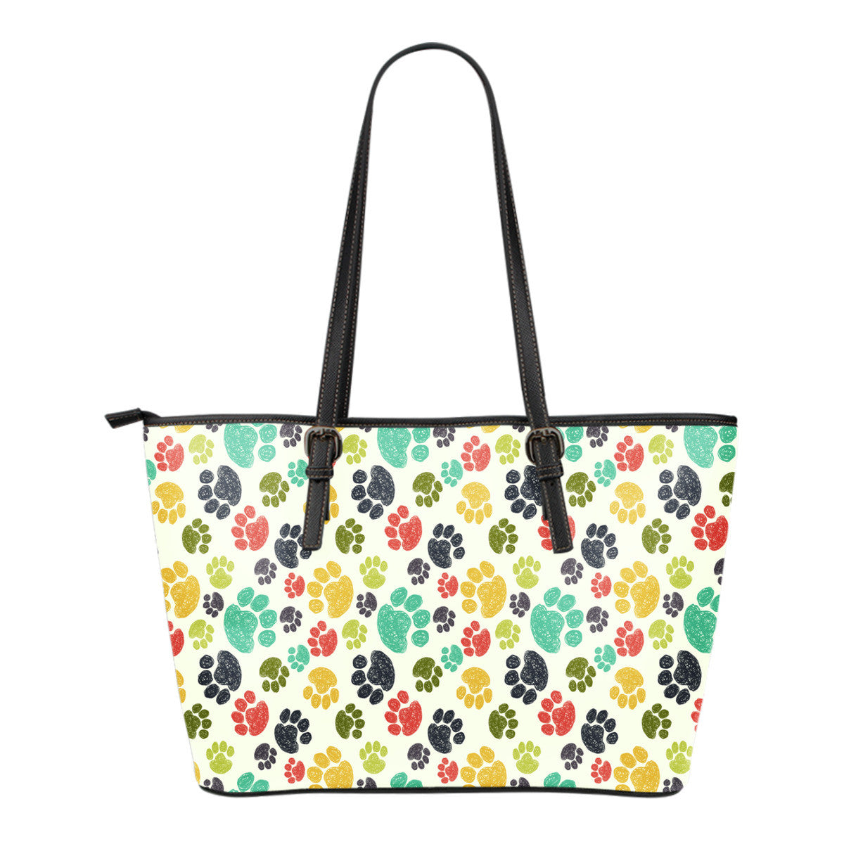 Colorful Paws Small Leather Tote Bag