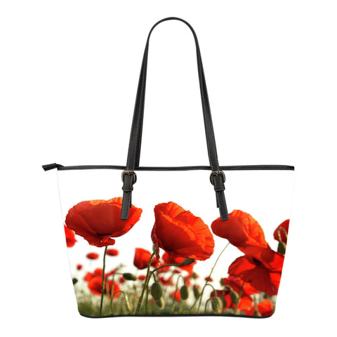 Poppy Flower Small Leather Tote Bag