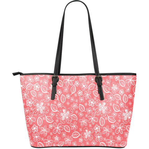Simply Flowers Large Leather Tote Bag