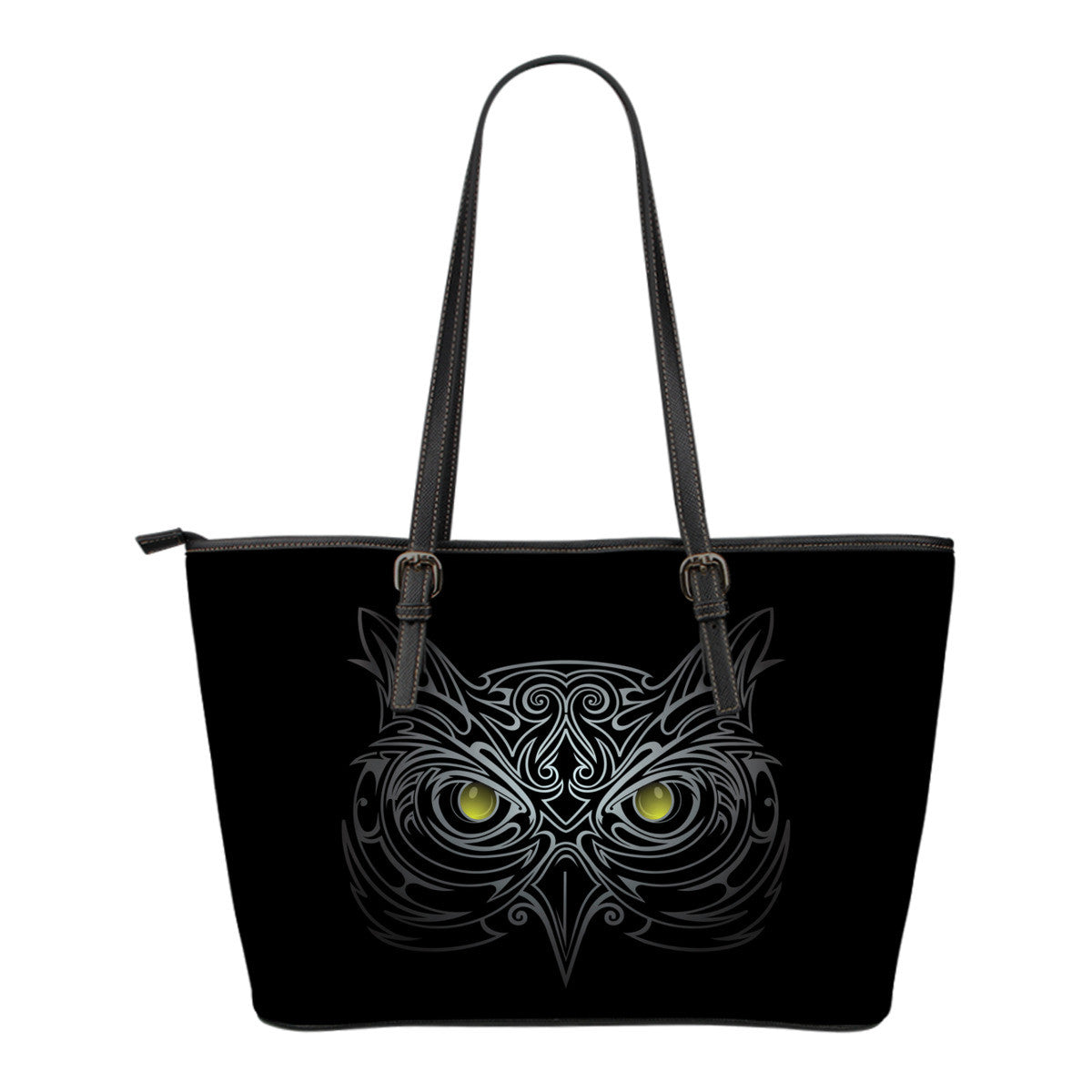 Black Owl Small Leather Tote Bag
