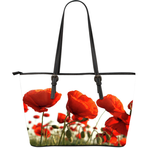 Poppy Flower Large Leather Tote Bag