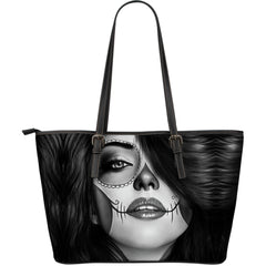 Tattoo Calavera Girl Large Leather Tote Bag - Collection 3