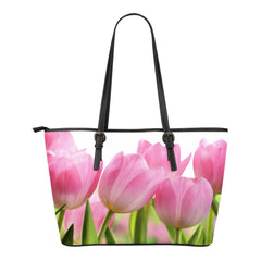 Tulip Flower Small Leather Tote Bag