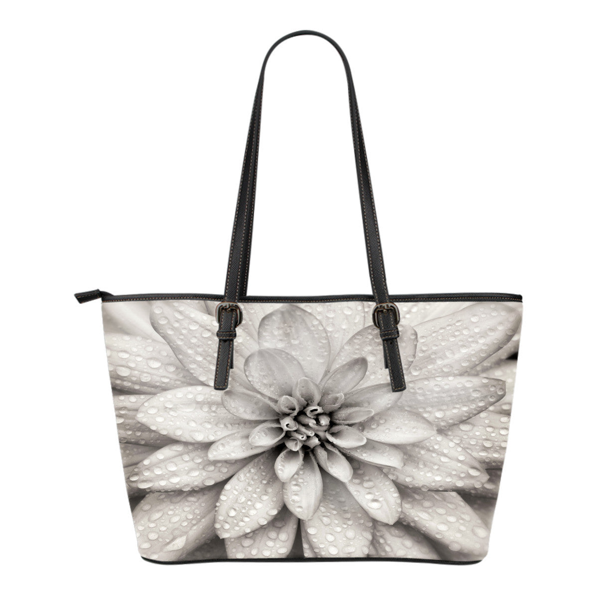 Dahlia Flower Small Leather Tote Bag