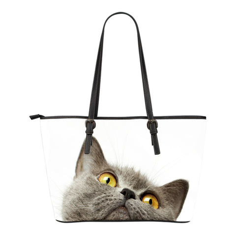 Cat Small Leather Tote Bag