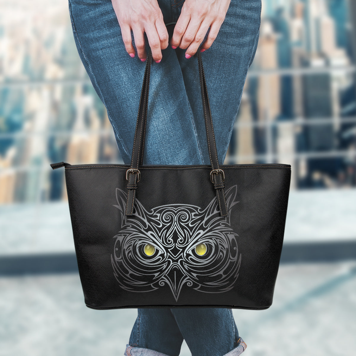 Black Owl Large Leather Tote Bag