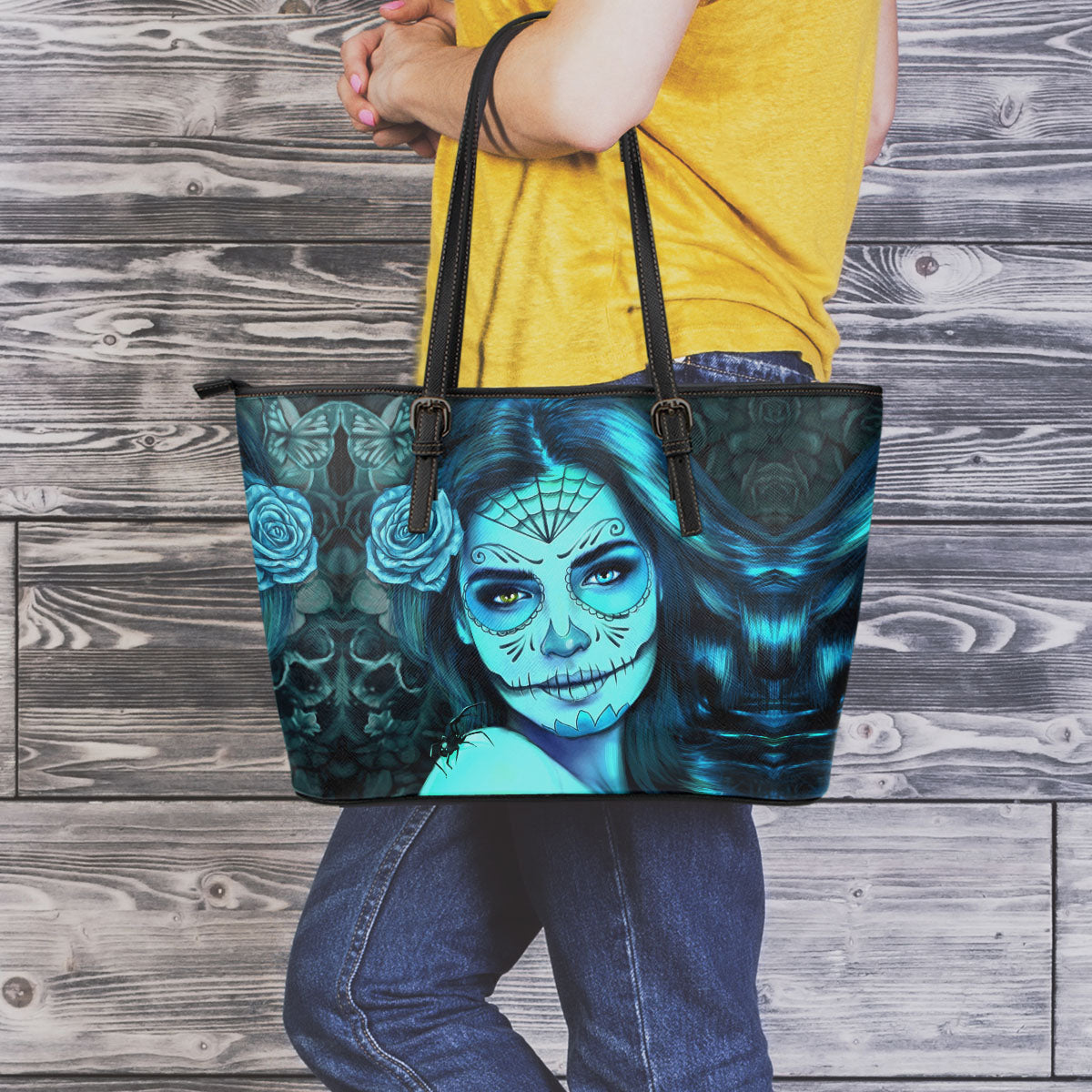 Tattoo Calavera Girl Large Leather Tote Bag - Collection 2