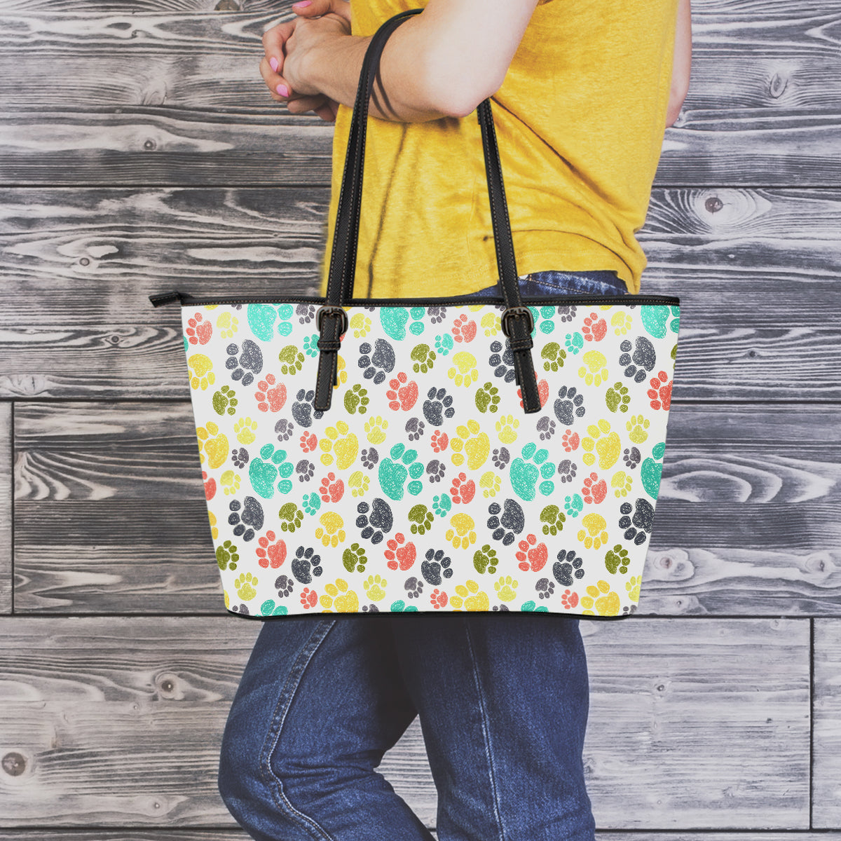 Colorful Paws Large Leather Tote Bag
