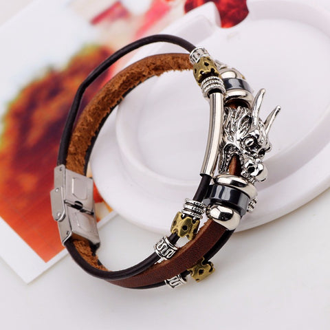 Tibetan Dragon Men's Leather Bracelet