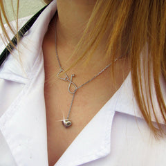 Nurse Stethoscope & Heart Pendant Necklace