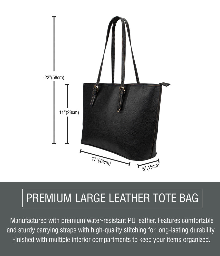 Tulip Flower Large Leather Tote Bag