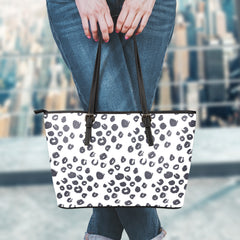 Leopard Large Leather Tote Bag