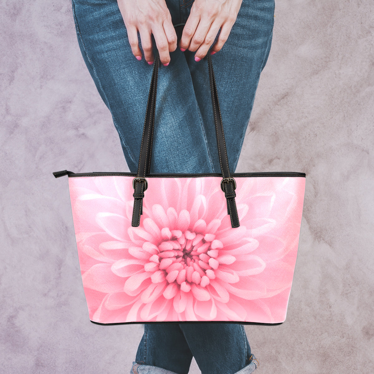 Chrysanthemum Flower Small Leather Tote Bag