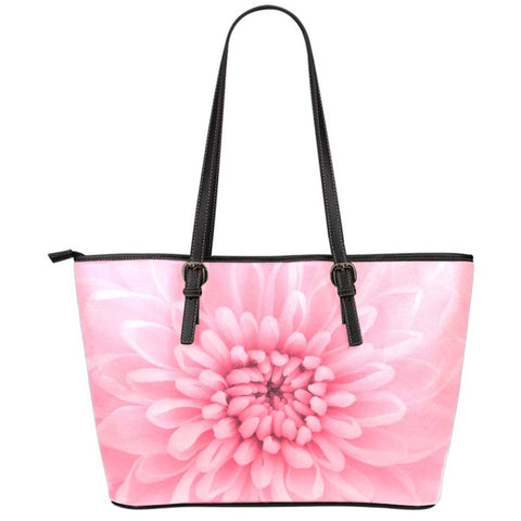 Chrysanthemum Flower Large Leather Tote Bag