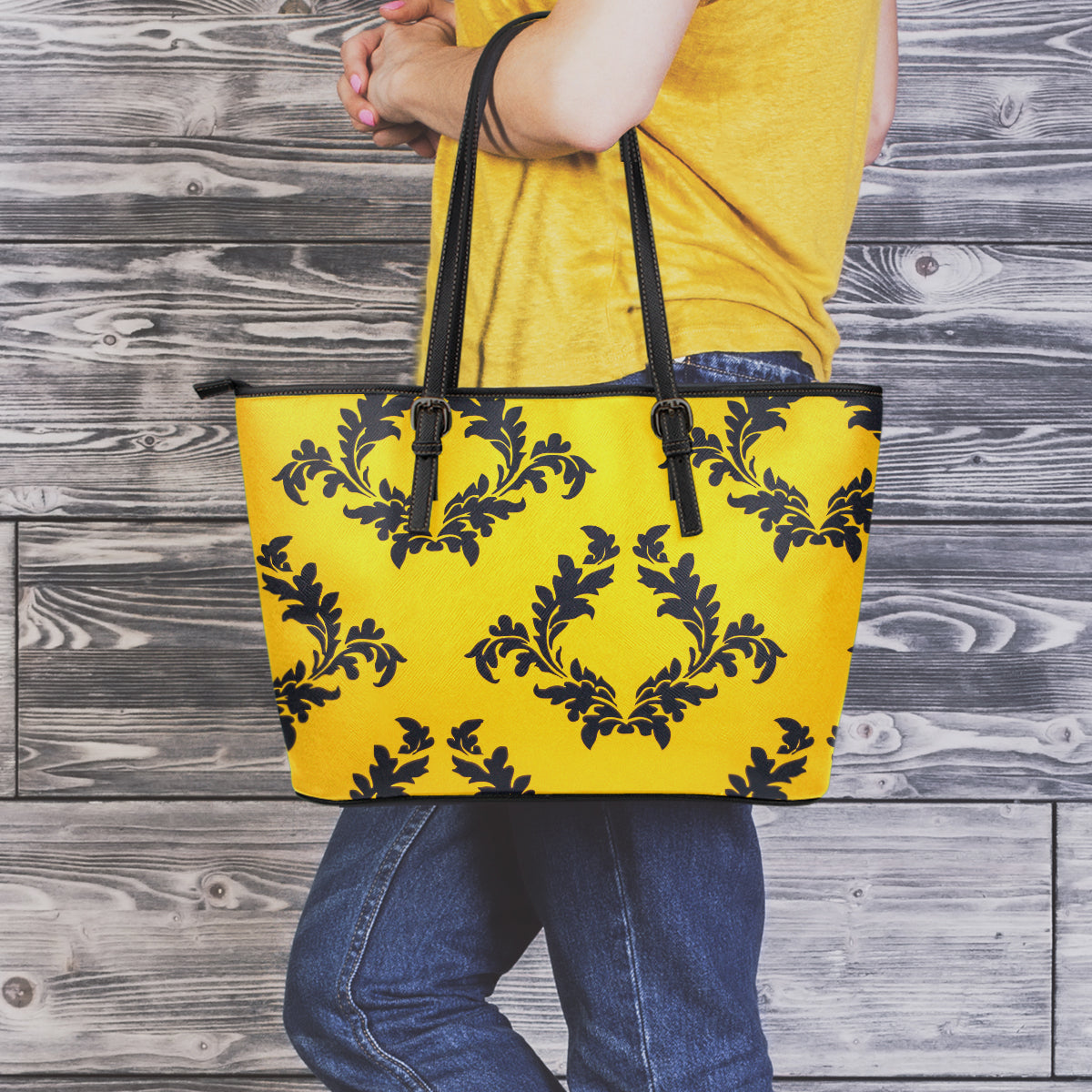 Retro Flower Small Leather Tote Bag