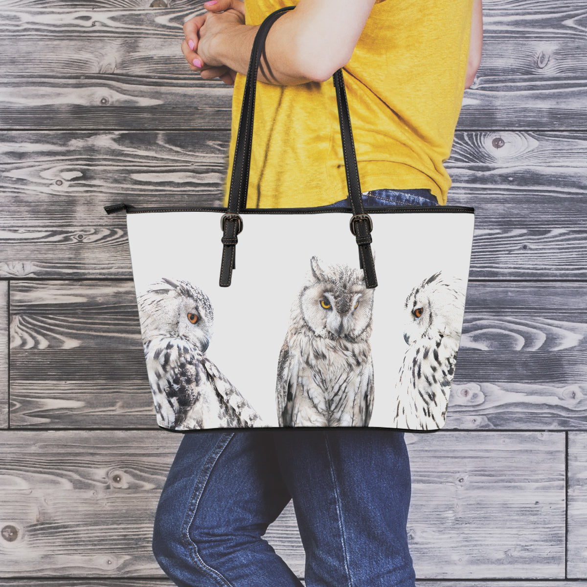 Set of Owls Small Leather Tote Bag