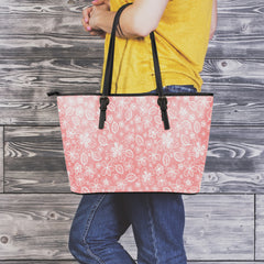 Simply Flowers Small Leather Tote Bag