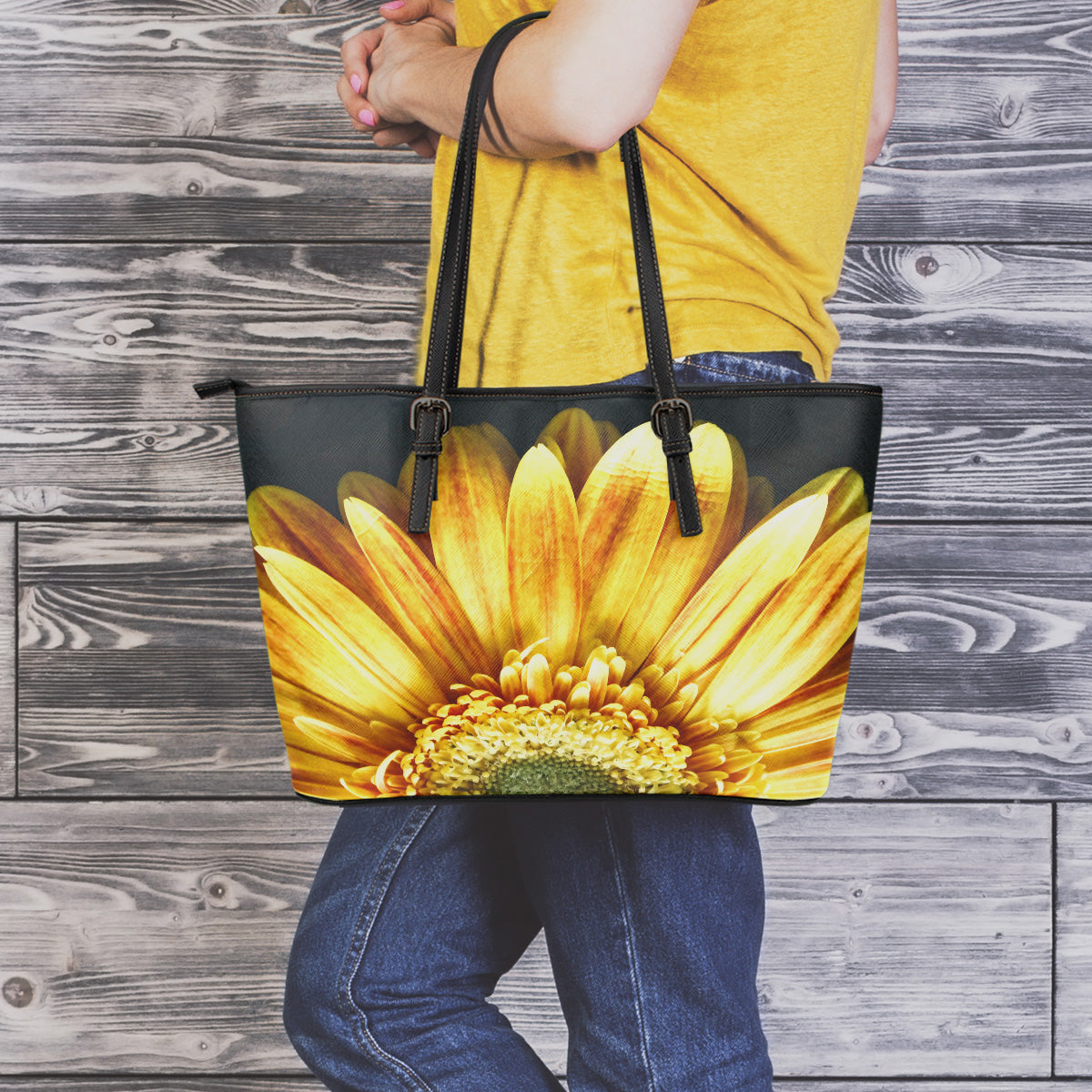 Yellow Daisy Flower Large Leather Tote Bag