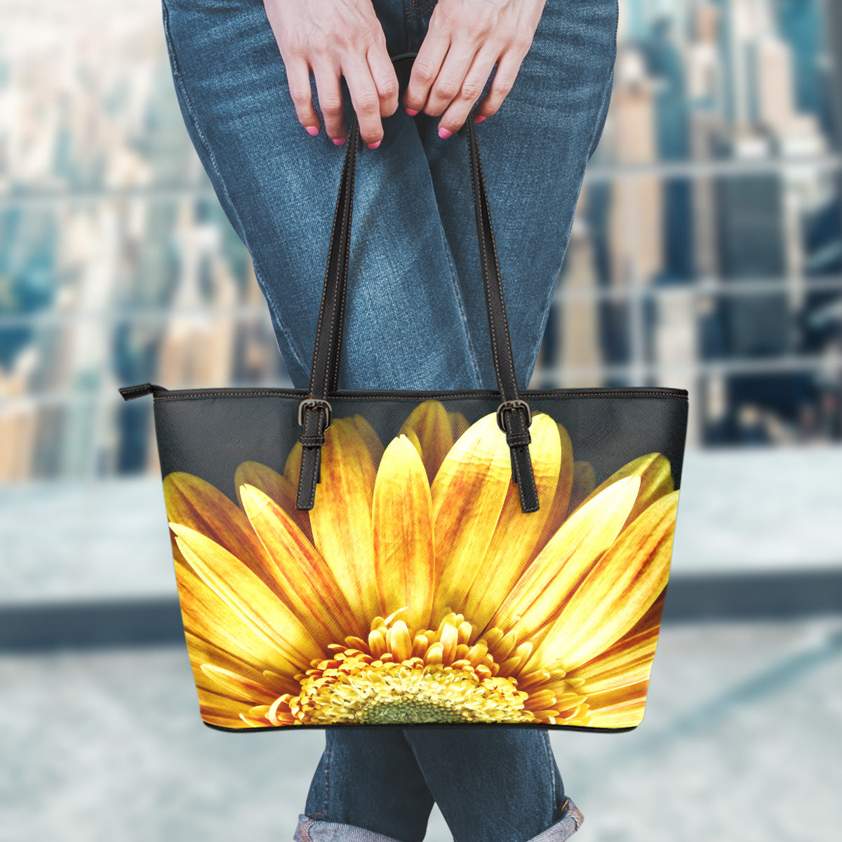 Yellow Daisy Flower Small Leather Tote Bag
