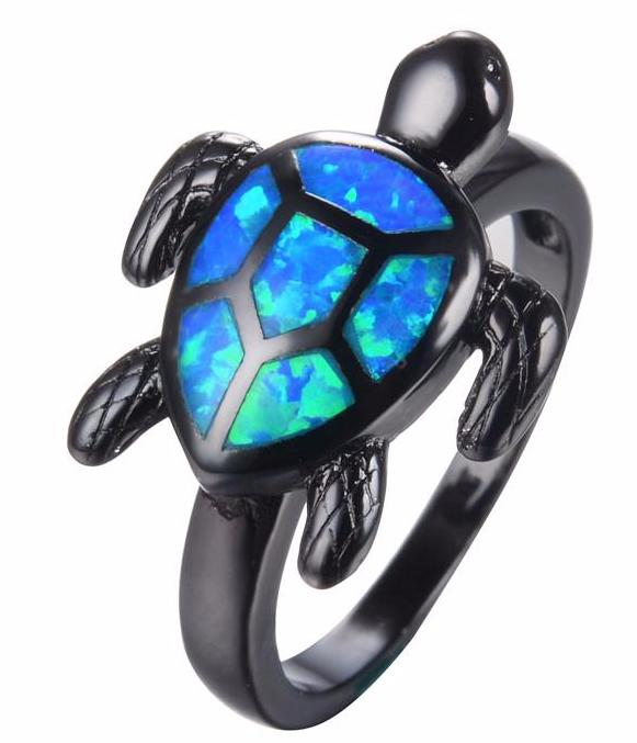 Blue Turtle Fire Opal Ring