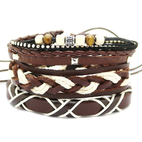 Funky Punk Leather Multi Layer Bracelet