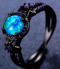 Star Flower Blue Fire Opal Ring