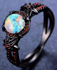 Mystic Rainbow Fire Opal Black Gold Ring