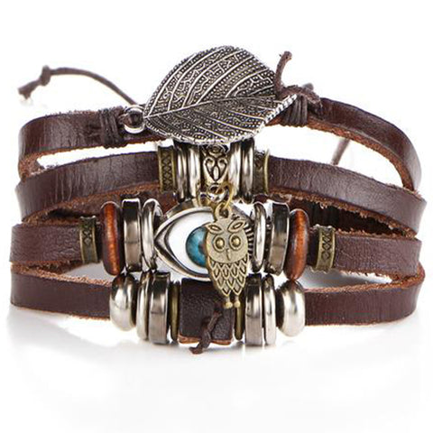 Leather Multi Pendant Charm Bracelet