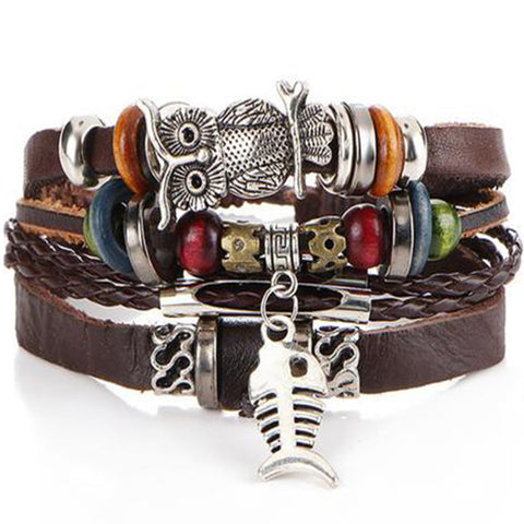 Leather Owl & Fish Skeleton Bracelet